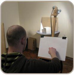 Первый этап: нарисовать карандошом композицию